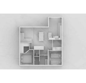 Maison flottante Aquahome55, vue en plan